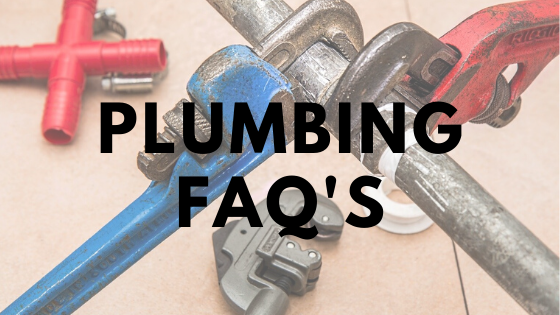 Picture of spanners holding pipes with plumbing FAQ's written over it